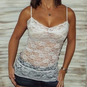 cda22d9348 Tops - Lace Sheer Cami Tank White 2216